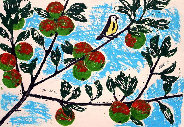 Apple tree with small bird by Tadhg McSweeney