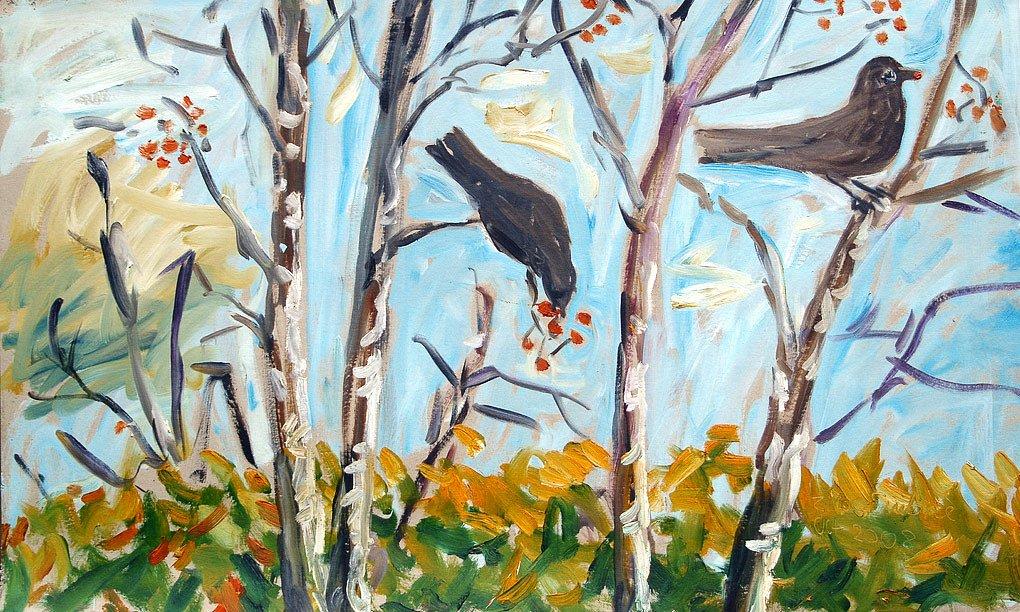Birds on Rowan tree by Tadhg McSweeney