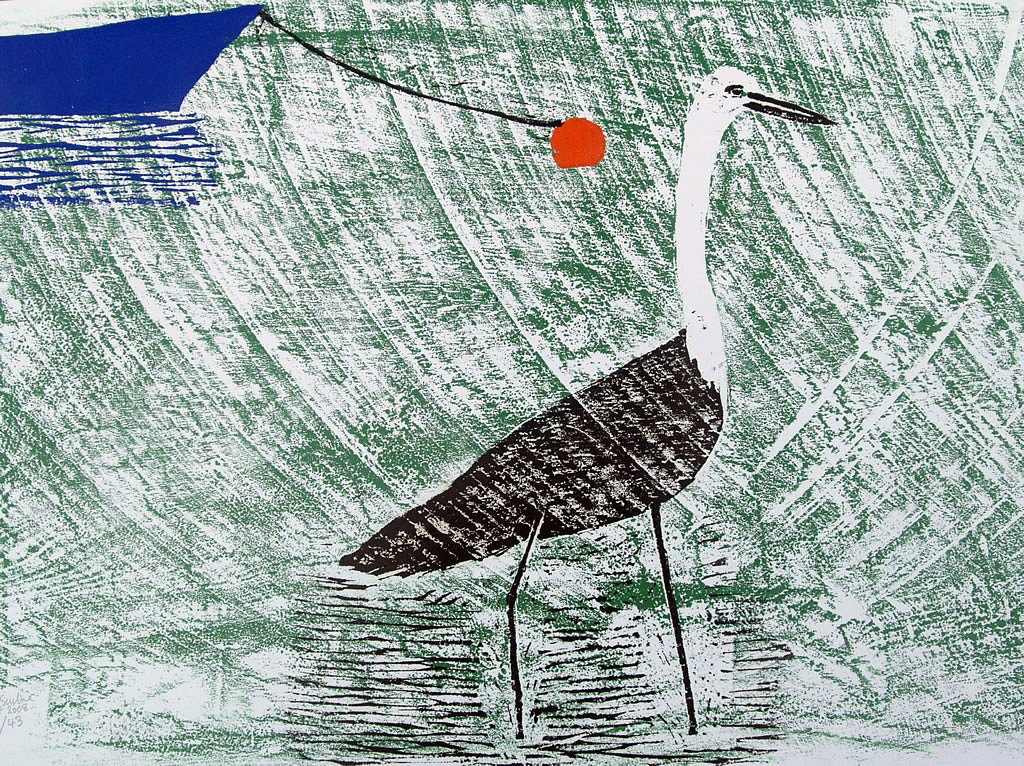 Blue boat with Heron by Tadhg McSweeney