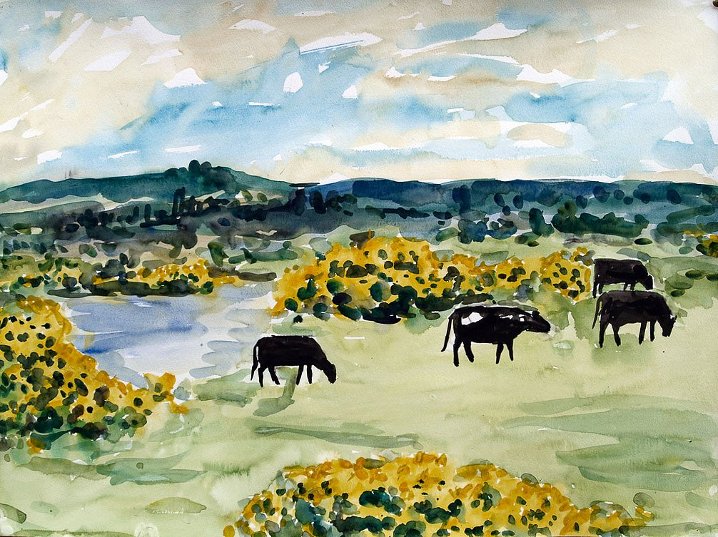 Lake with cattle by Tadhg McSweeney