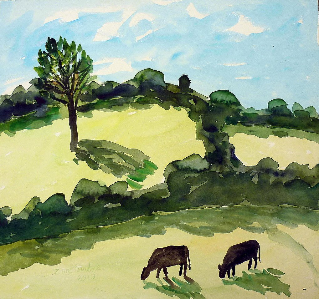 Landscape with cattle by Tadhg McSweeney
