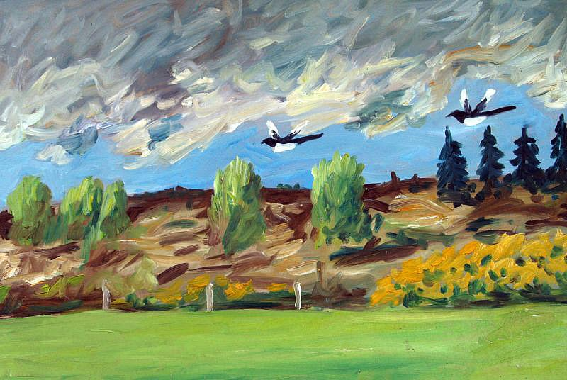 Landscape with magpies by Tadgh McSweeney