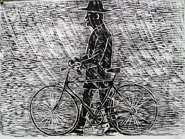 Man with bicycle by Tadhg McSweeney