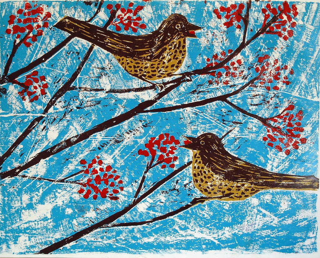 Missel thrushes on Rowan tree by Tadhg McSweeney