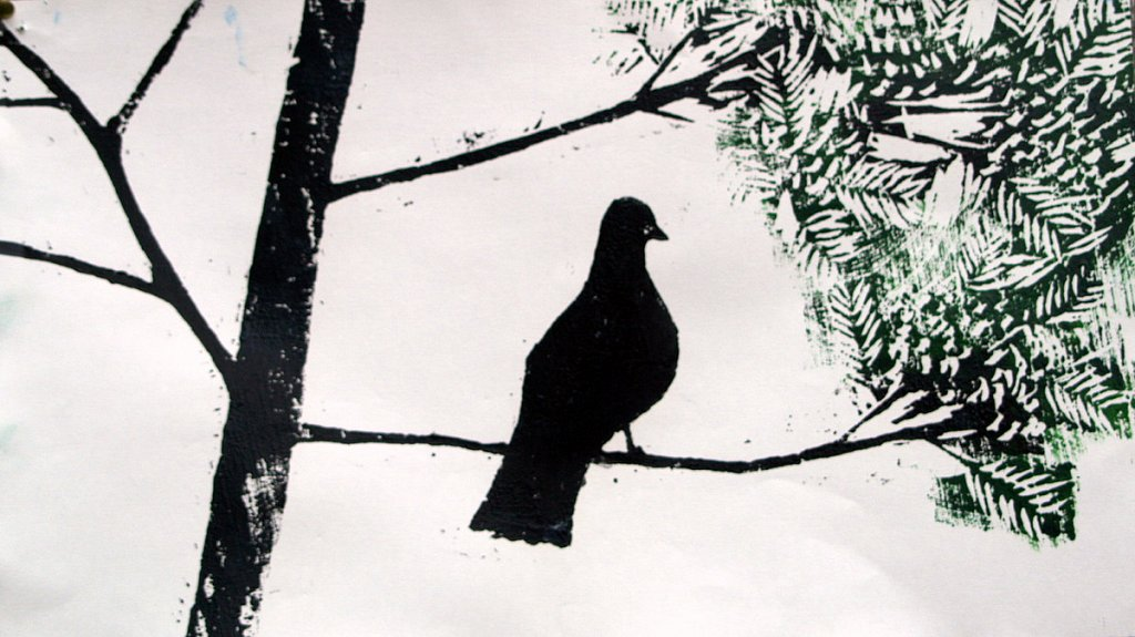 pigeon on branch by Tadhg McSweeney