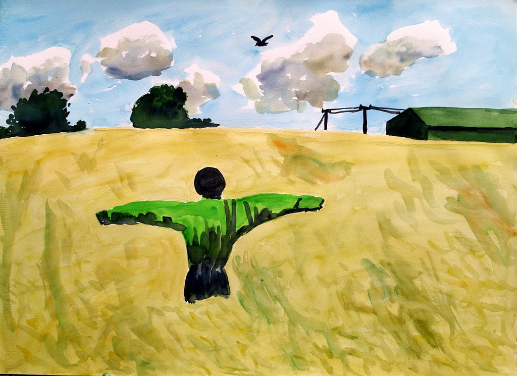scarecrow in cornfield by Tadhg McSweeney